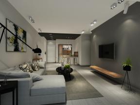 2018精致现代简约客厅装修图 灰色电视背景墙图片