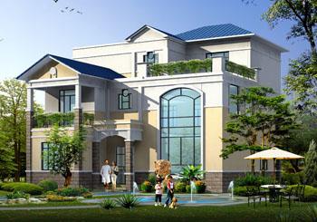 三层别墅设计施工图纸(含外观效果图)带大露台