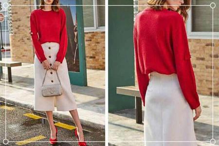 和红色裤子搭配的上衣颜色